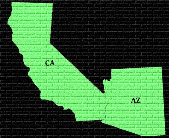 Map Of Arizona And California - Map of california nevada and utah